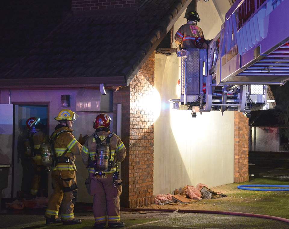 Chimney smolders at funeral home