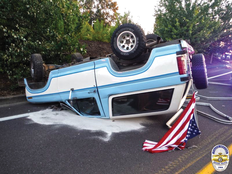 Rollover attributed to 'mutual road rage'