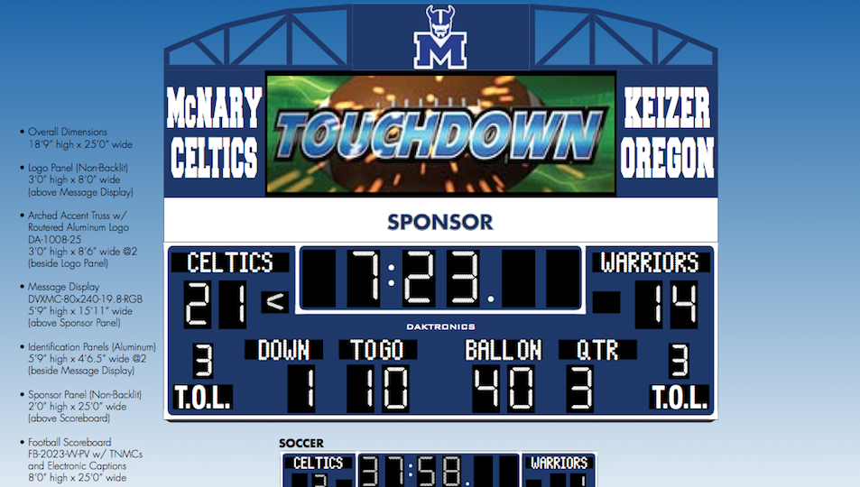 McNary getting new scoreboard